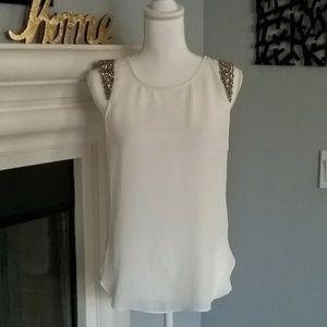 Socialite White Semi-sheer embellished Blouse (s)